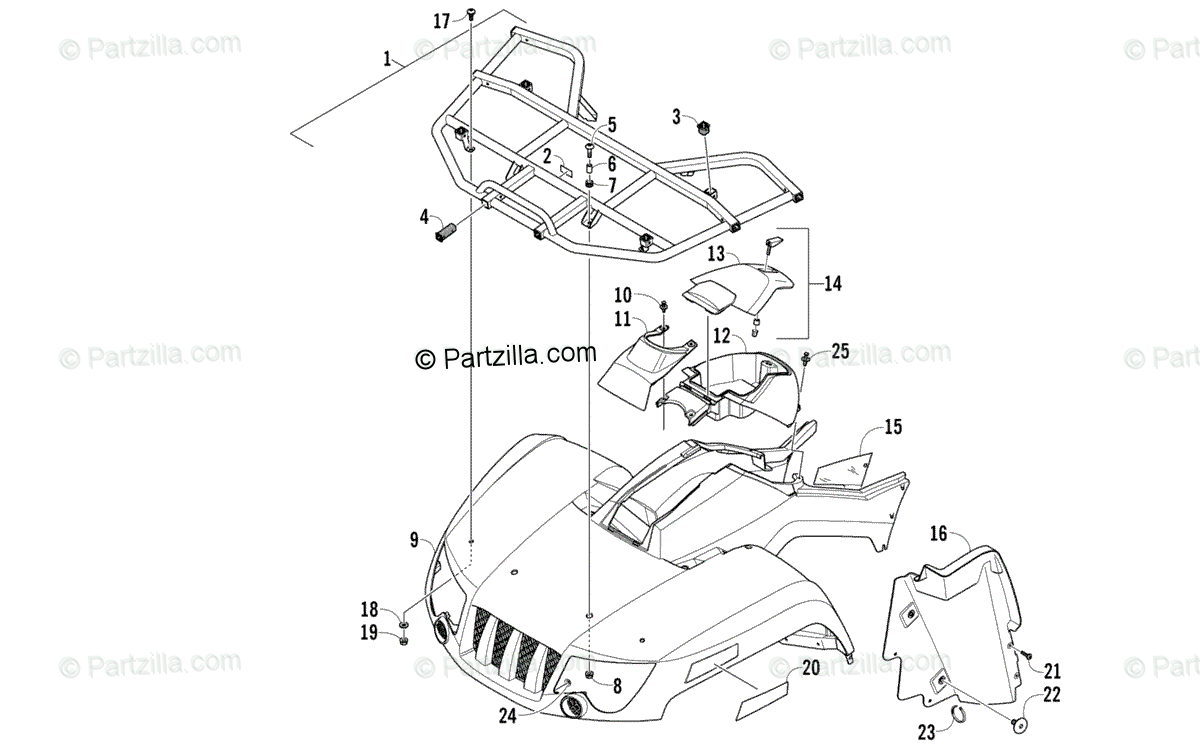 Arctic Cat ATV 2006 OEM Parts Diagram for Front Body Panel