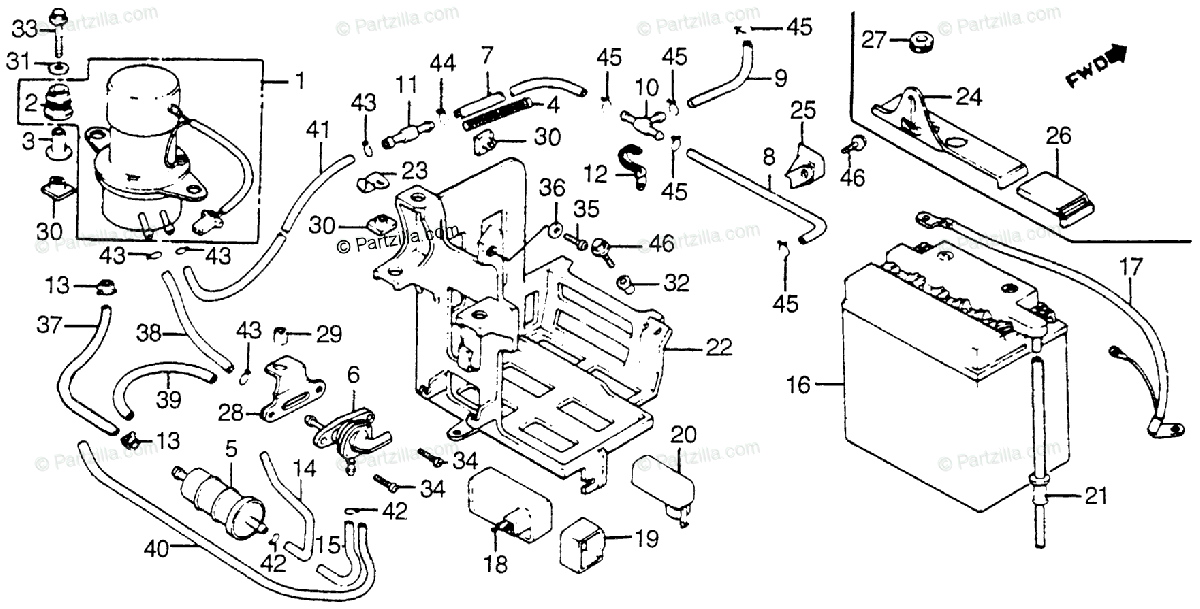Honda Motorcycle 1982 OEM Parts Diagram for Battery / Fuel