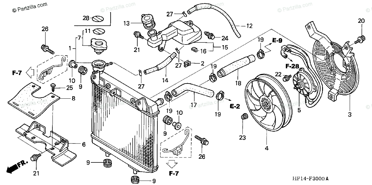 Honda ATV 2004 OEM Parts Diagram for Radiator ('04,'05
