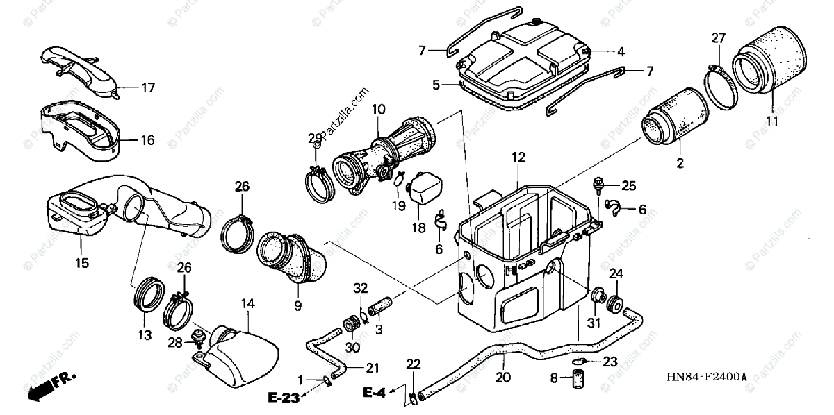 Honda ATV 2005 OEM Parts Diagram for Air Cleaner