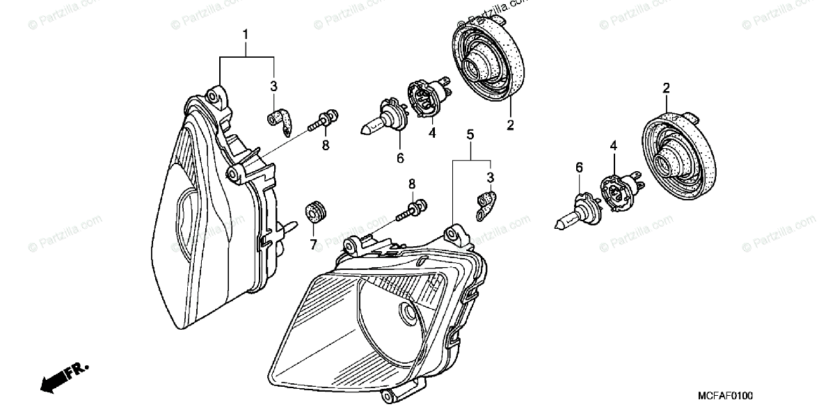 Honda Motorcycle 2006 OEM Parts Diagram for Headlight