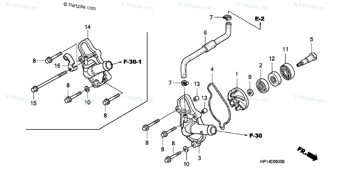 Honda ATV 2005 OEM Parts Diagram for Water Pump