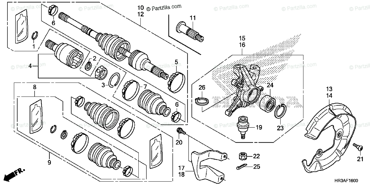 Honda ATV 2015 OEM Parts Diagram for Front Knuckle / Front