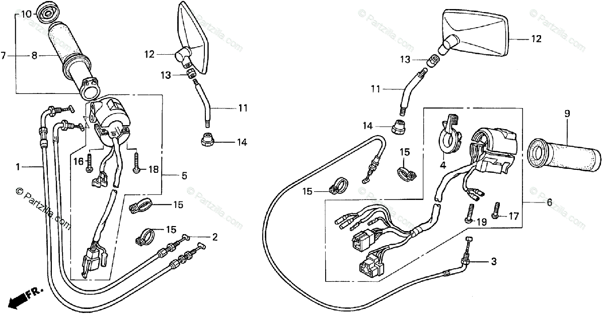Honda Motorcycle 1997 OEM Parts Diagram for Switch / Cable