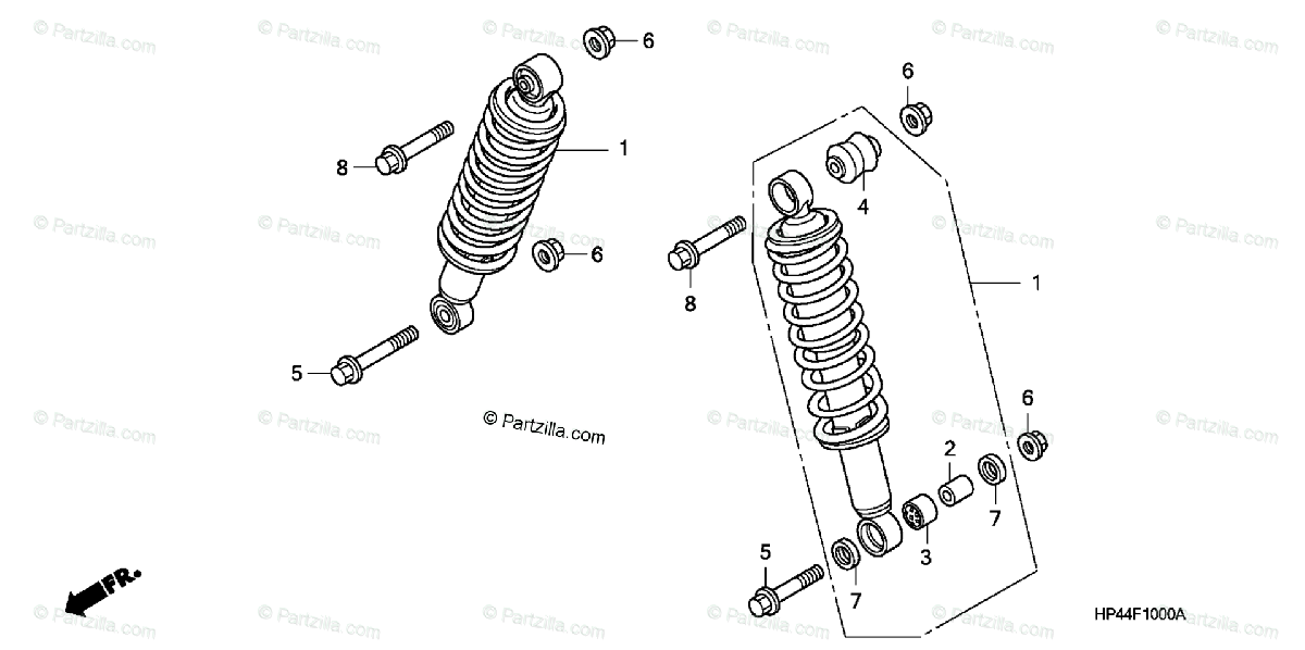Honda ATV 2007 OEM Parts Diagram for Front Shock Absorber