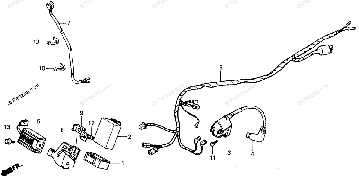 Honda ATV 1991 OEM Parts Diagram for Wire Harness