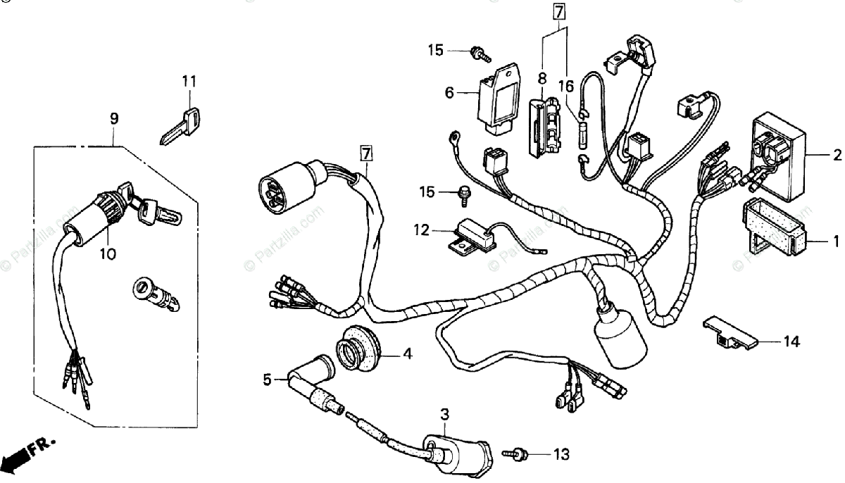 Honda Motorcycle 1993 OEM Parts Diagram for Wire Harness