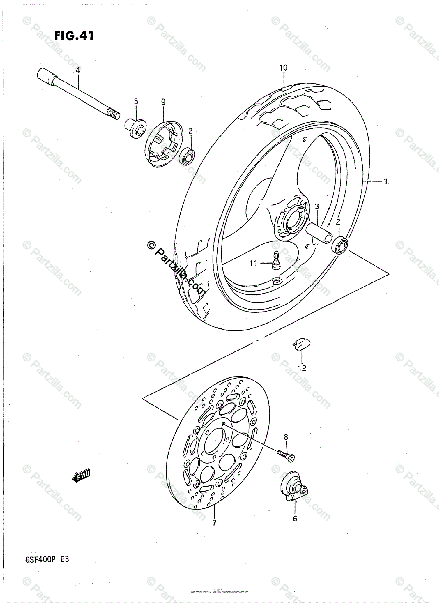 Suzuki Motorcycle 1991 OEM Parts Diagram for Front Wheel