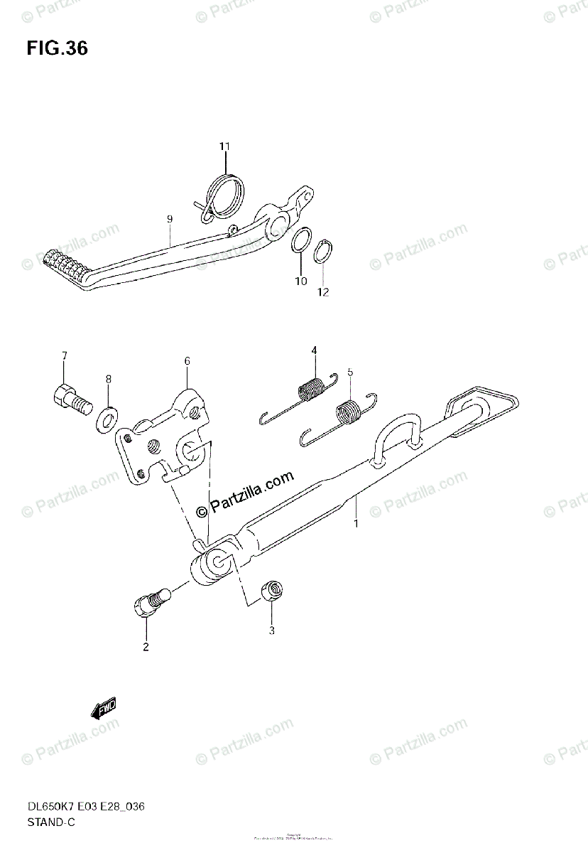 Suzuki Motorcycle 2007 OEM Parts Diagram for Stand