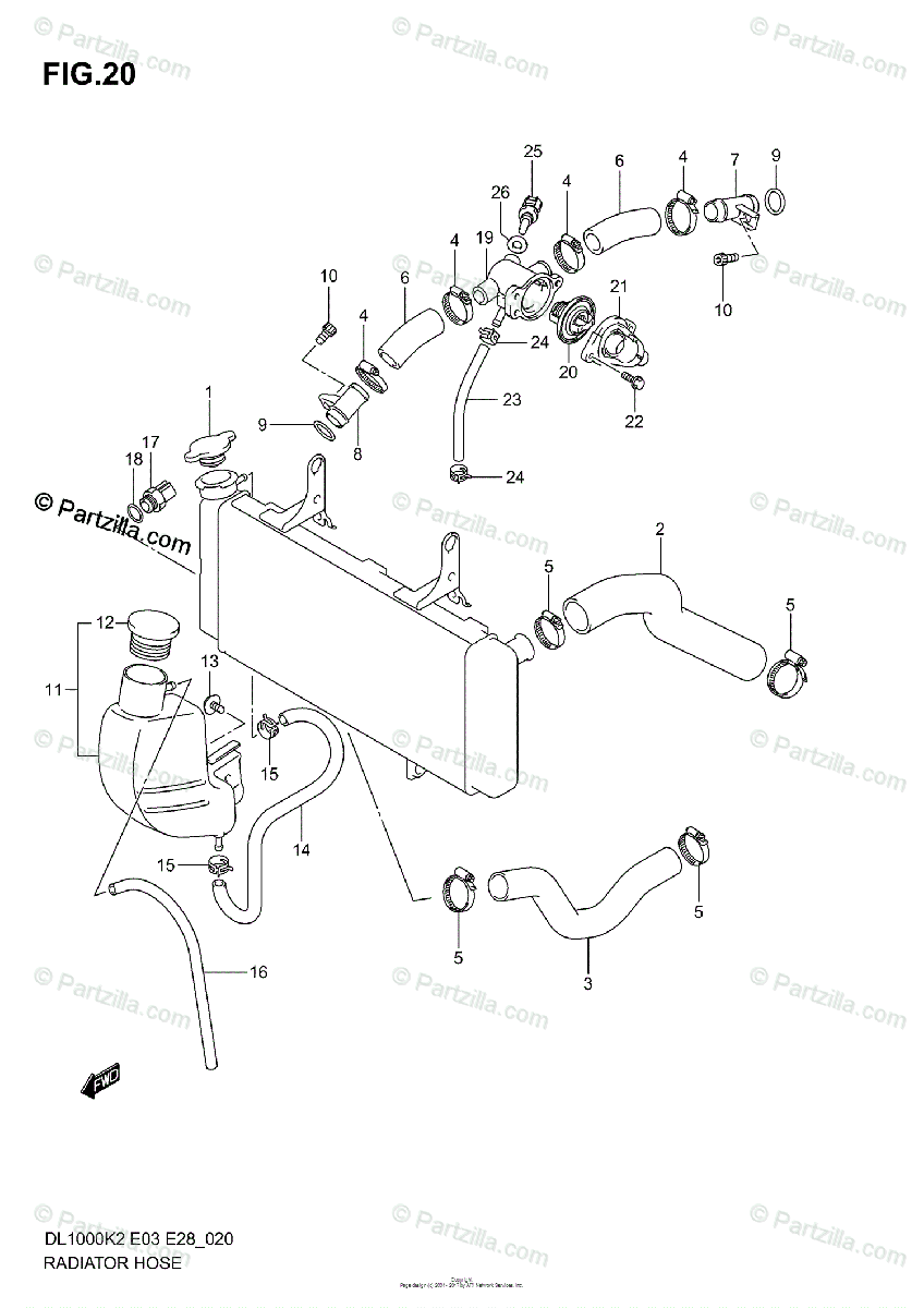 Suzuki Motorcycle 2004 OEM Parts Diagram for RADIATOR HOSE