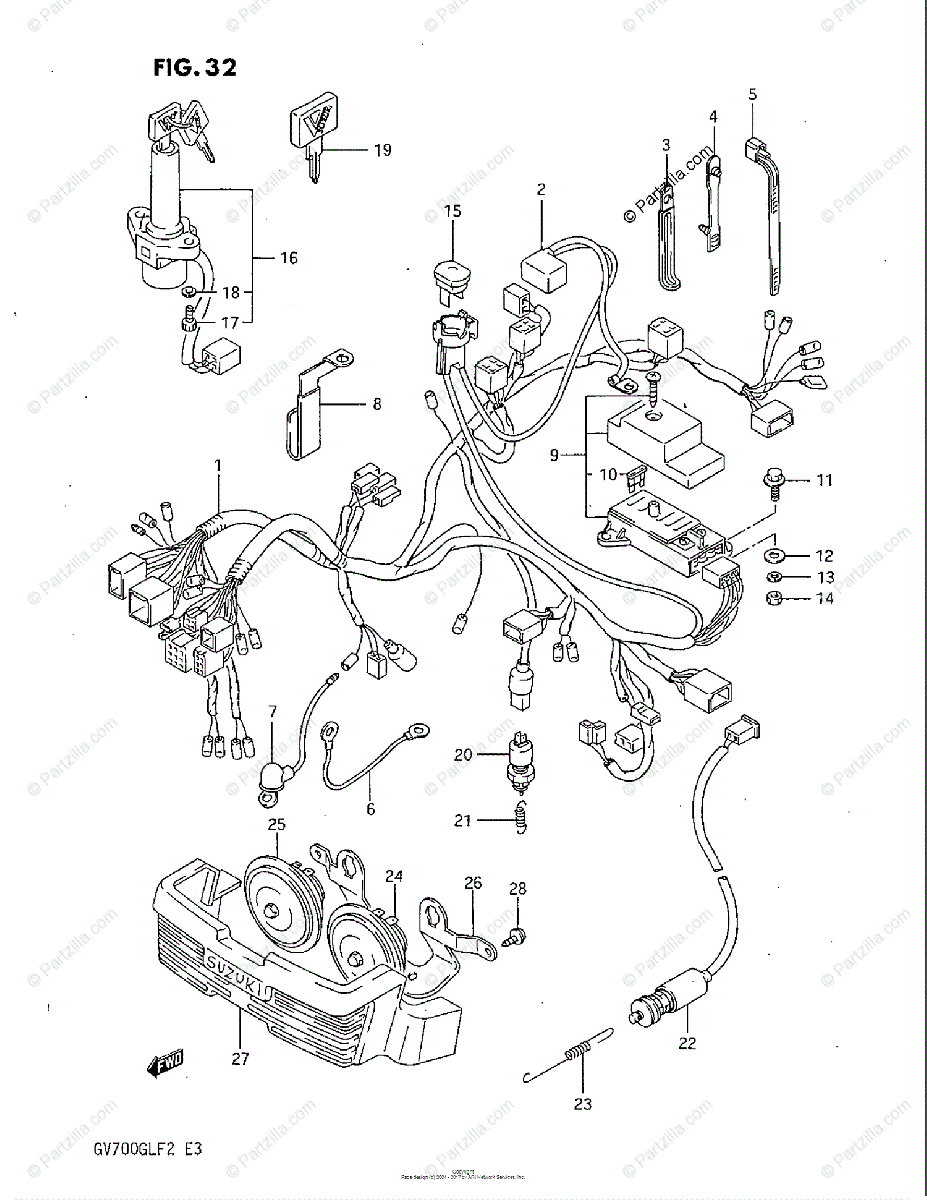 Suzuki Motorcycle 1985 OEM Parts Diagram for Wiring