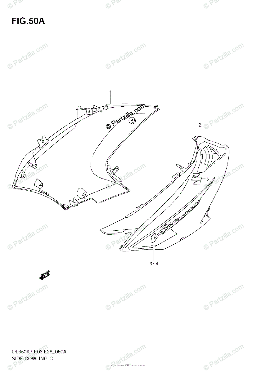 Suzuki Motorcycle 2007 OEM Parts Diagram for SIDE COWLING