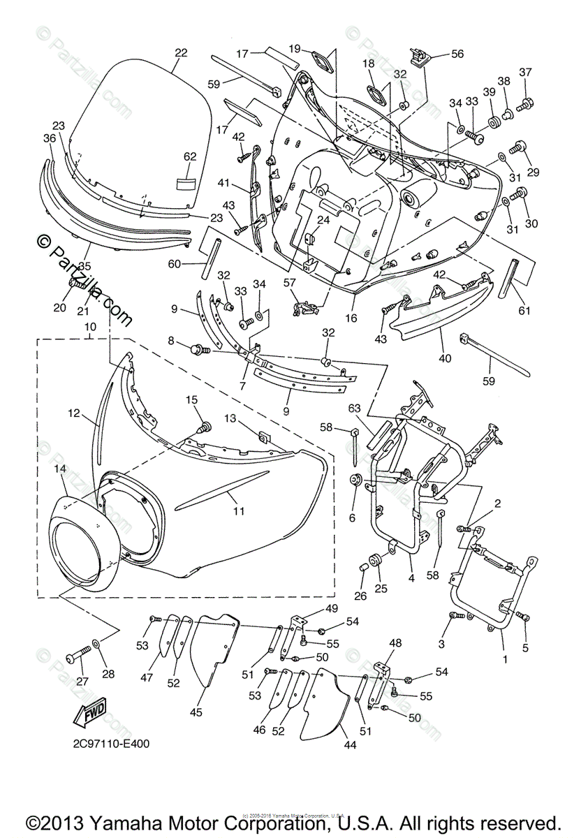 Yamaha Motorcycle 2007 OEM Parts Diagram for Cowling 1