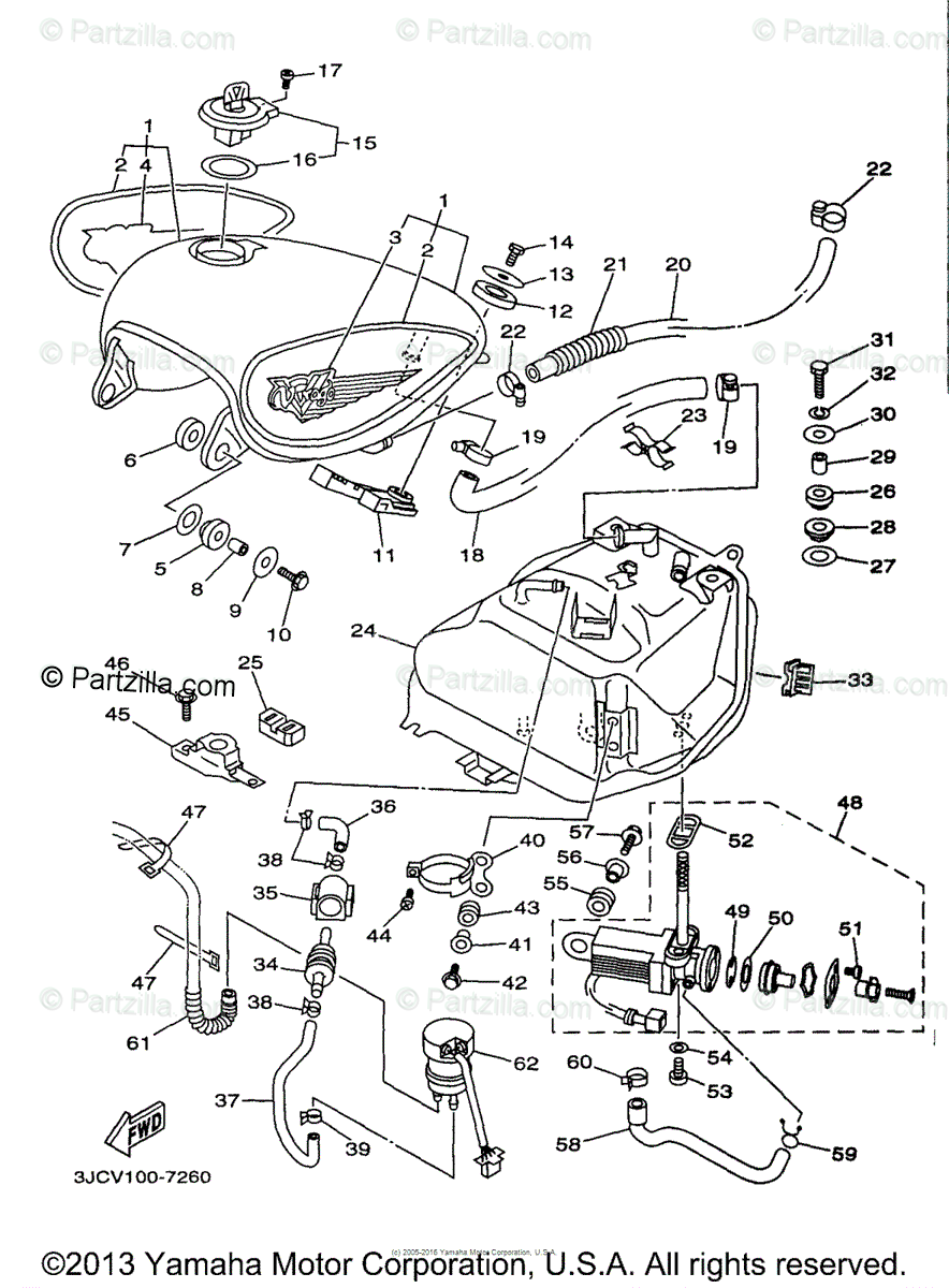 Yamaha Motorcycle 1997 OEM Parts Diagram for Fuel Tank
