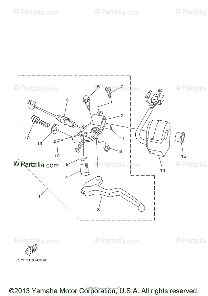 Yamaha ATV 2004 OEM Parts Diagram for Handle Switch-Lever
