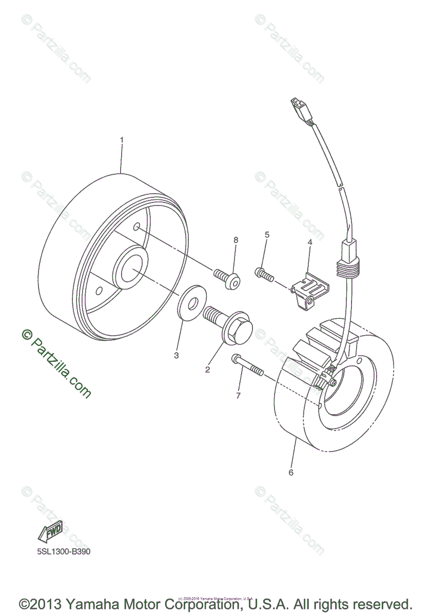 Yamaha Motorcycle 2005 OEM Parts Diagram for Generator