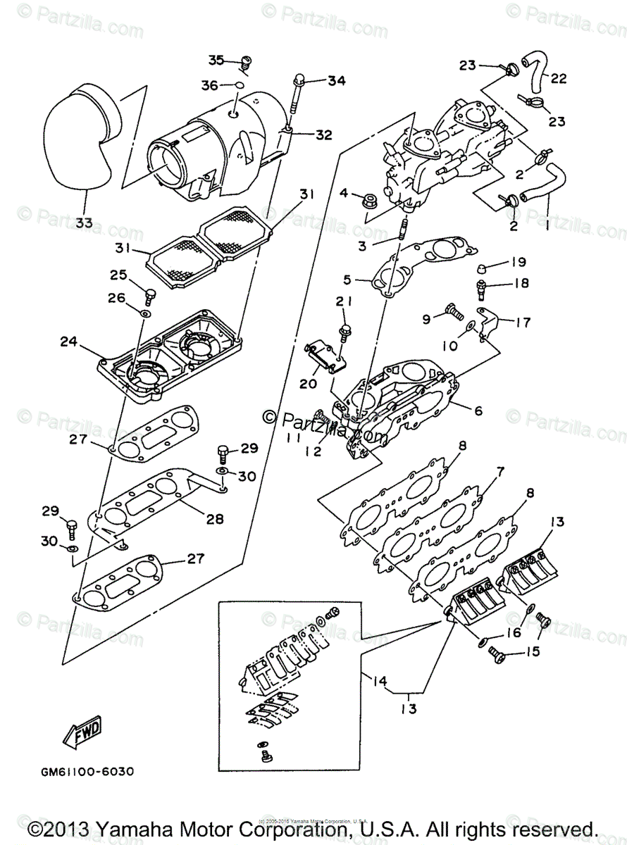 Yamaha Waverunner 1998 OEM Parts Diagram for Intake