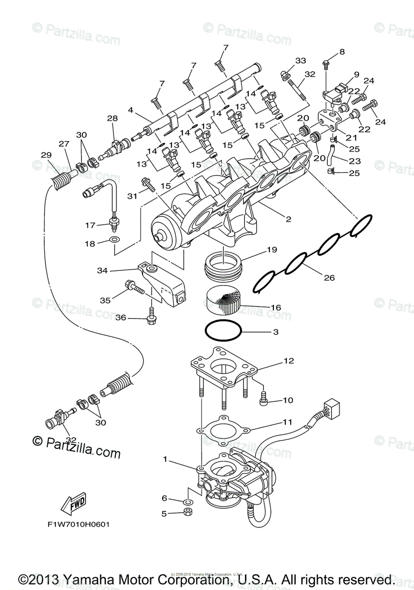 Yamaha Waverunner 2008 OEM Parts Diagram for Intake 1