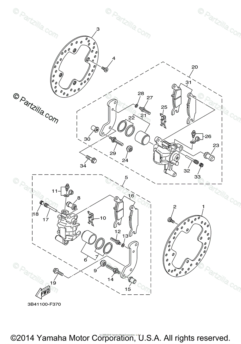 Yamaha ATV 2009 OEM Parts Diagram for Rear Brake Caliper
