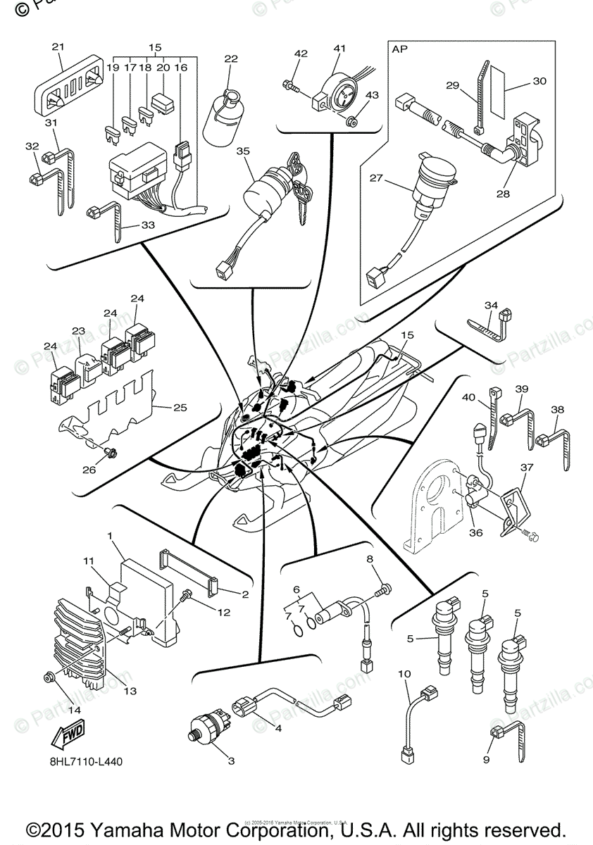Yamaha Snowmobile 2012 OEM Parts Diagram for Electrical