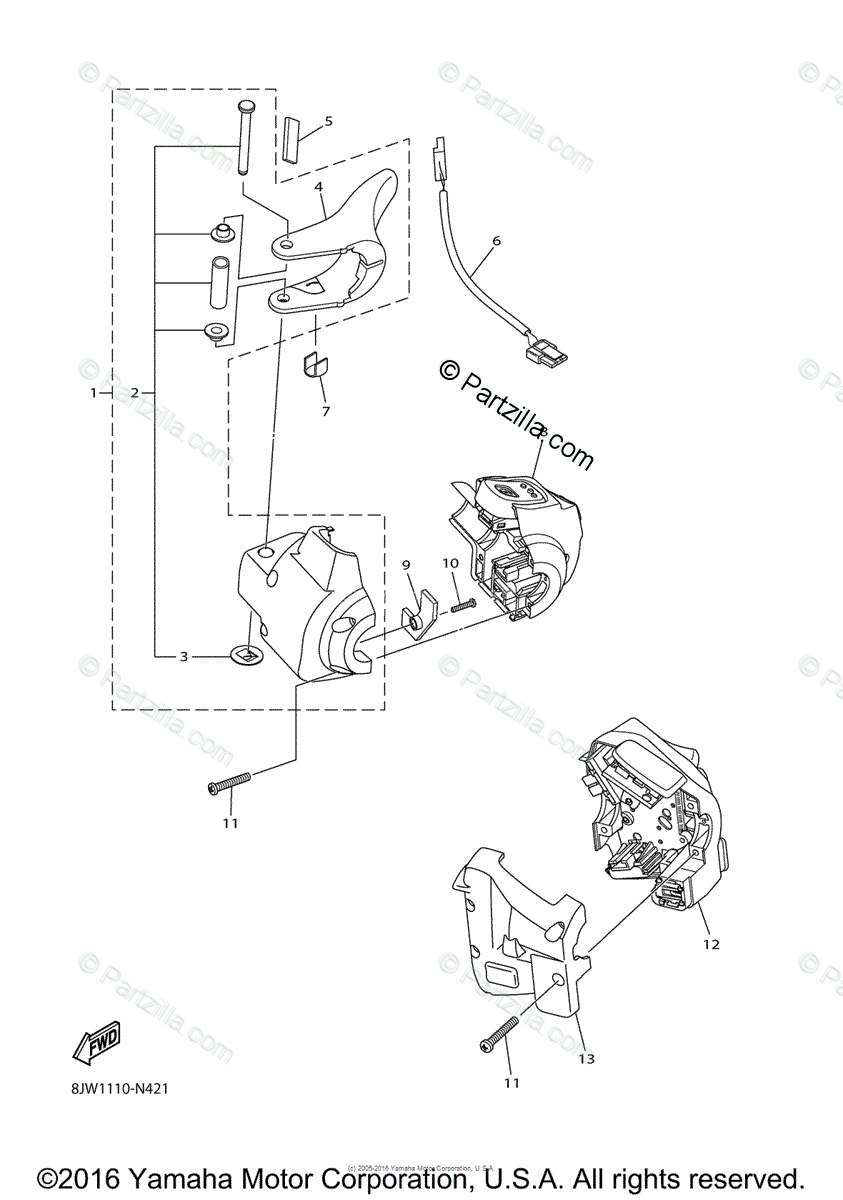 Yamaha Snowmobile 2014 OEM Parts Diagram for Handle Switch