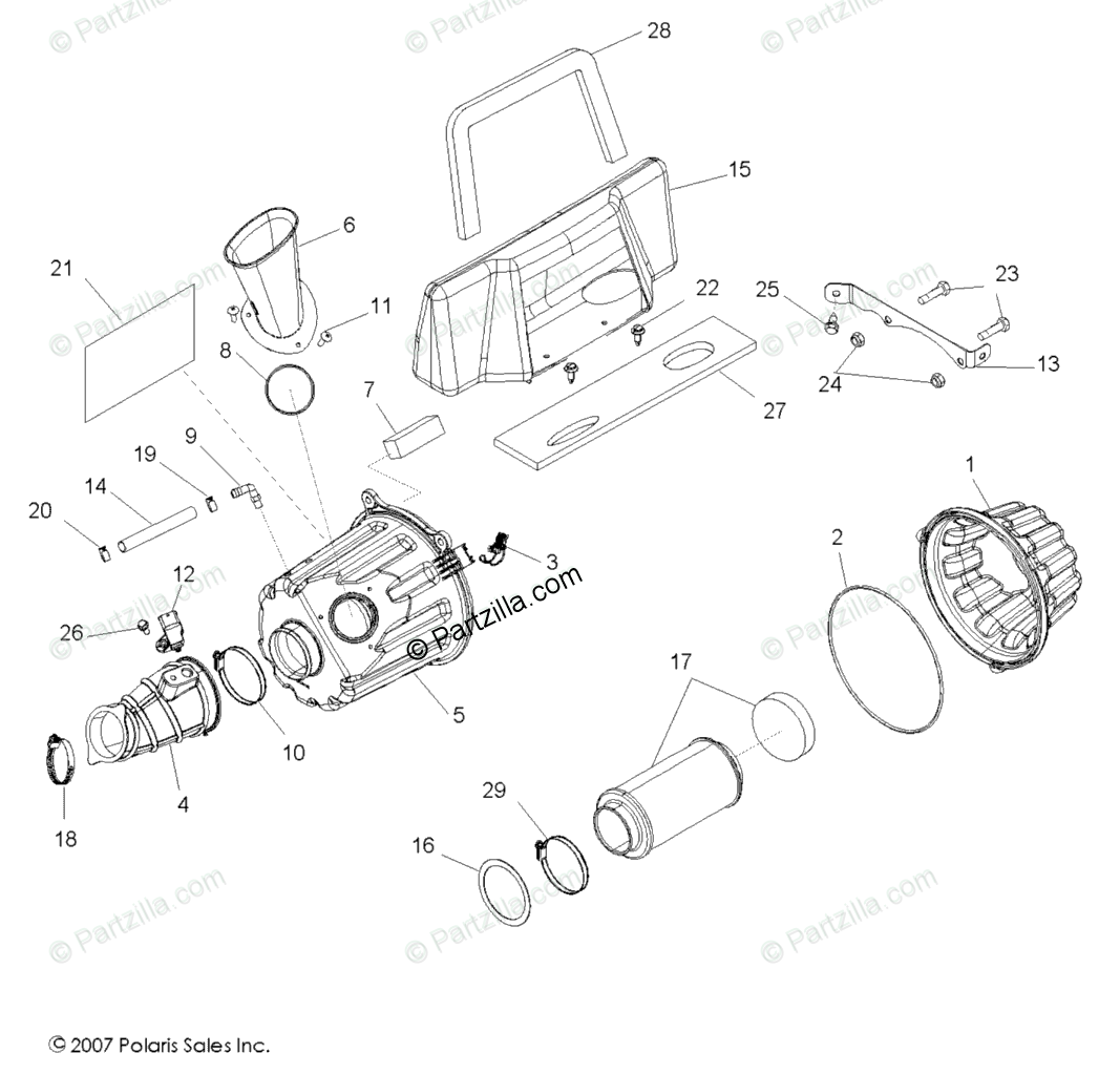 Polaris Side By Side Oem Parts Diagram For Air Box