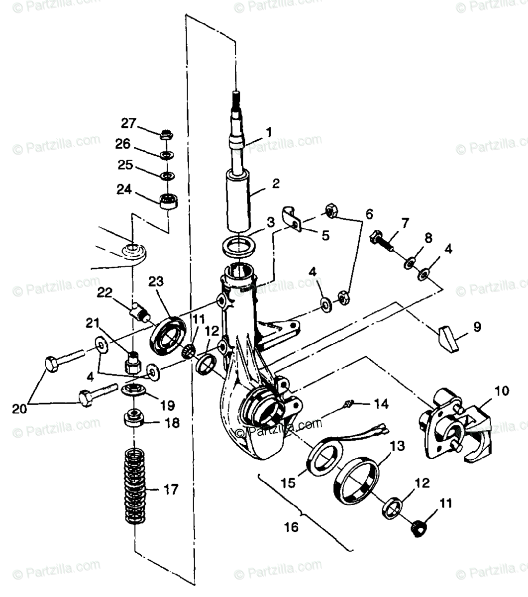 Polaris ATV 1998 OEM Parts Diagram for Front Strut