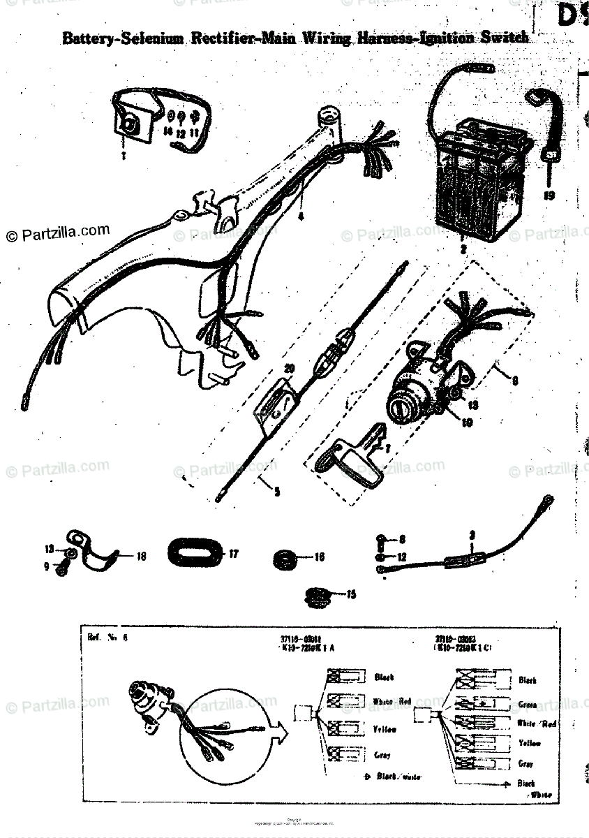 Suzuki Motorcycle 1968 OEM Parts Diagram for BATTERY