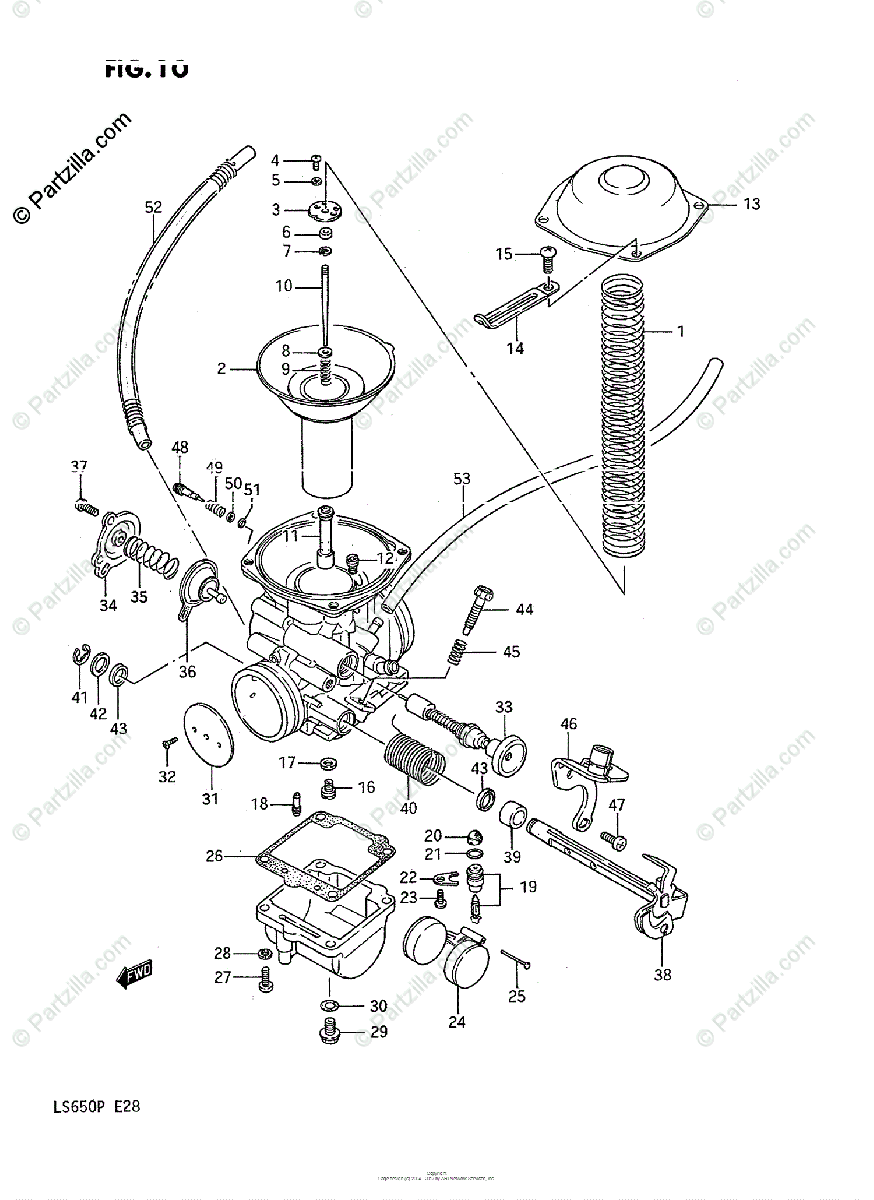 Suzuki Motorcycle 1986 OEM Parts Diagram for Carburetor