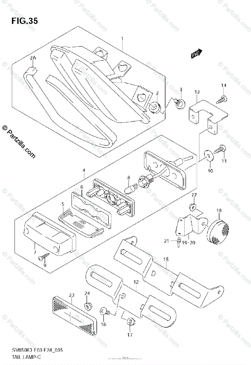 Suzuki Motorcycle 2004 OEM Parts Diagram for Tail Lamp