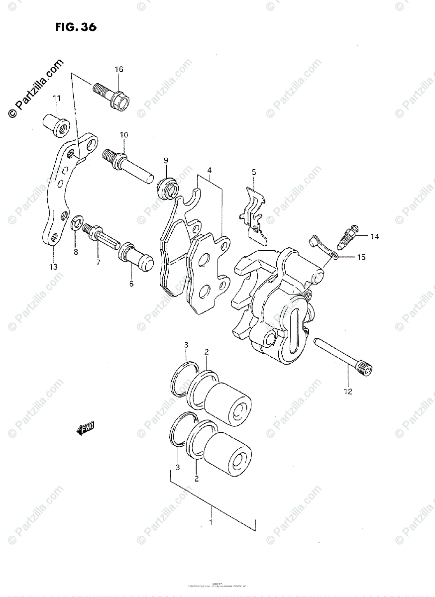 Suzuki Motorcycle 1990 OEM Parts Diagram for FRONT CALIPER