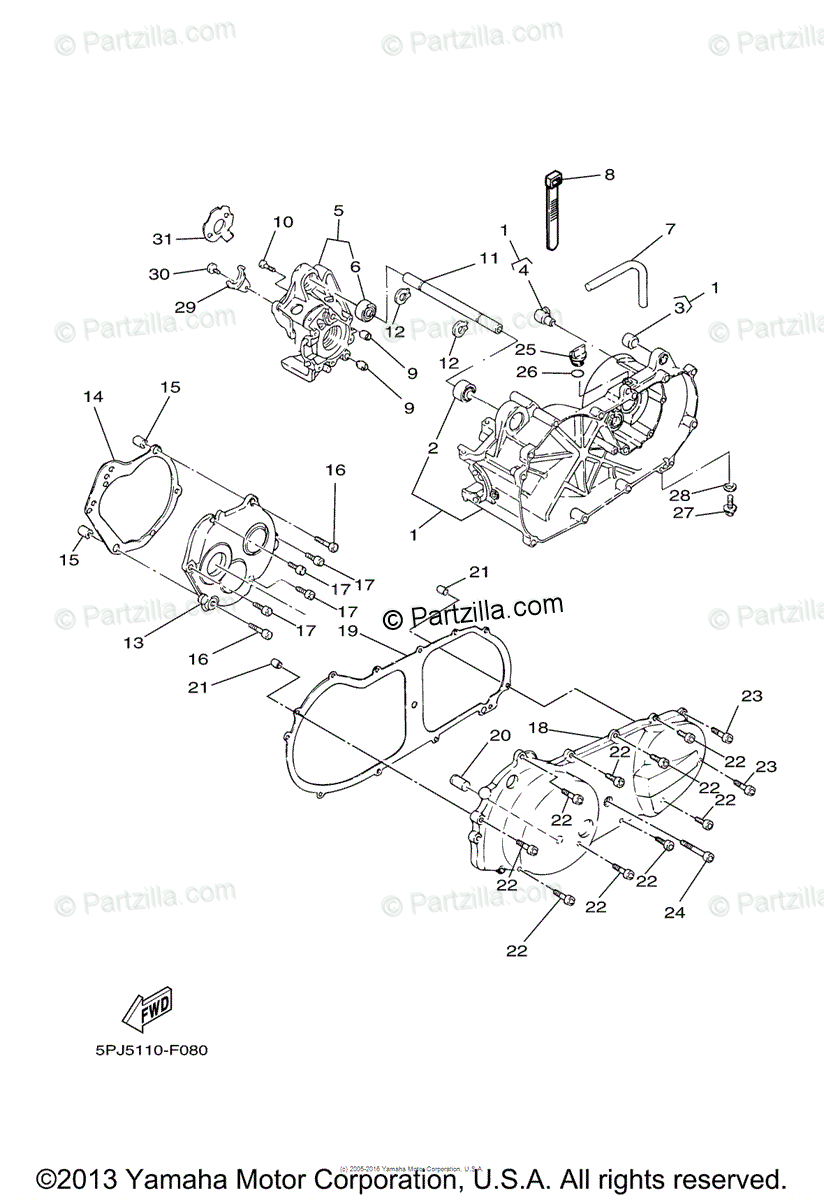 Yamaha Scooter 2008 OEM Parts Diagram for CRANKCASE
