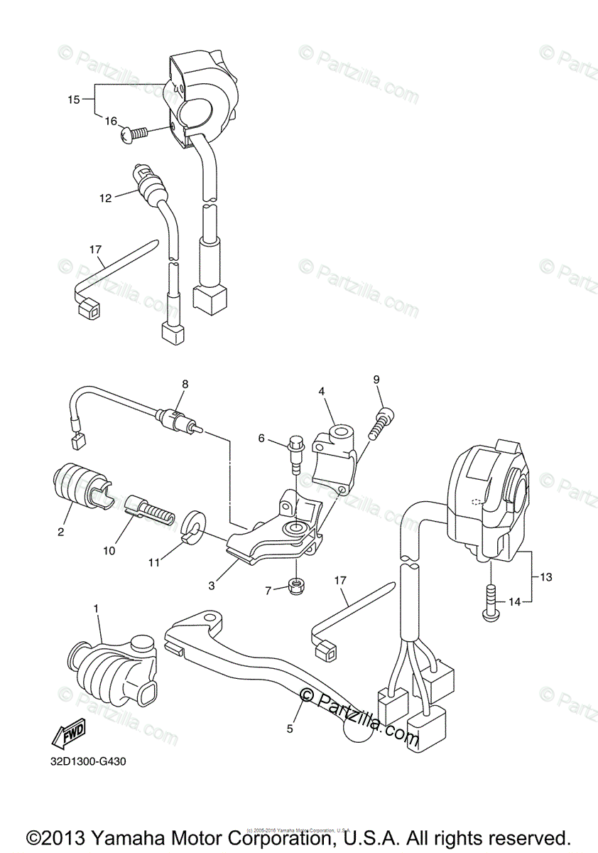 Yamaha Motorcycle 2014 OEM Parts Diagram for Handle Switch