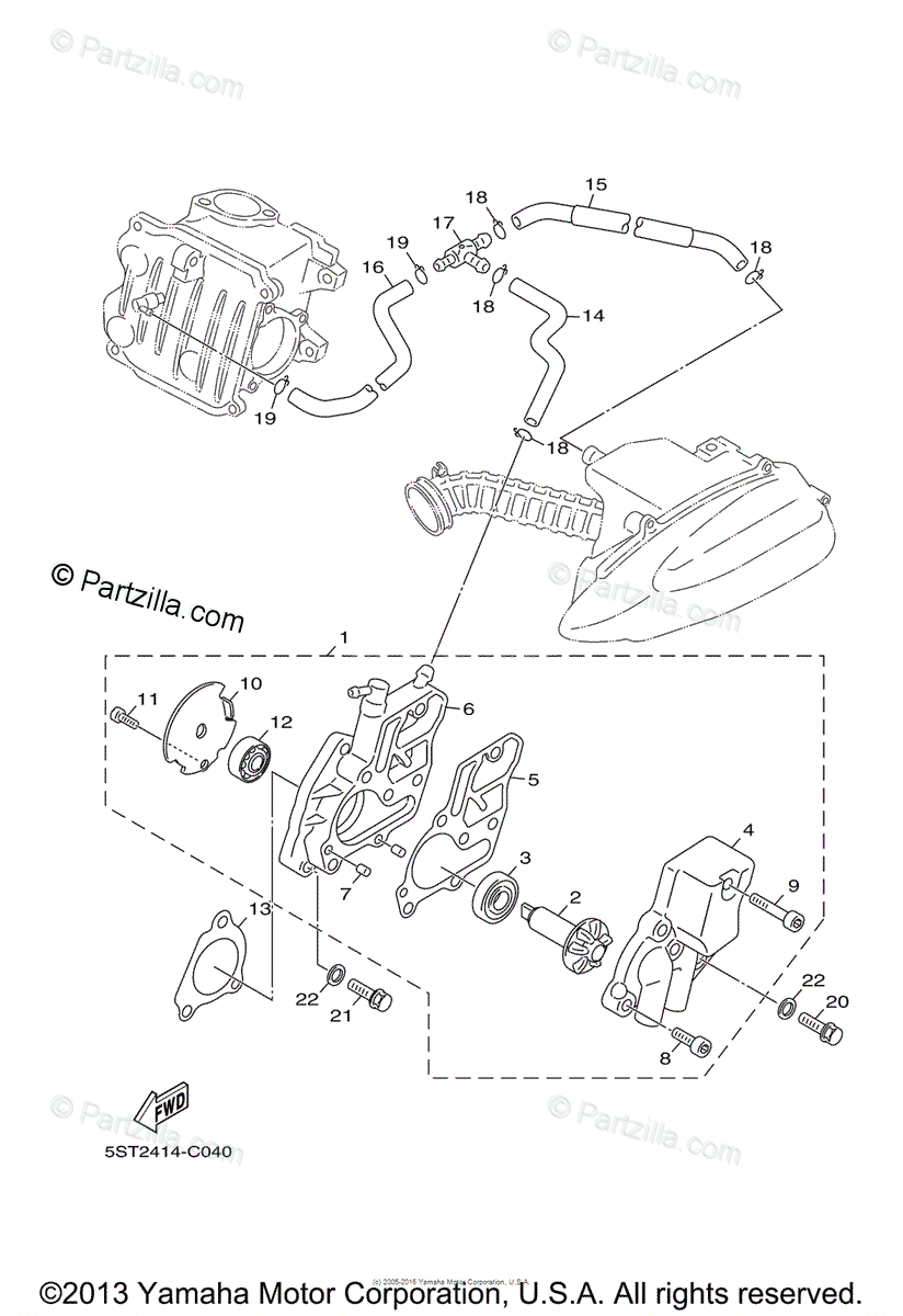 Yamaha Scooter 2007 OEM Parts Diagram for WATER PUMP