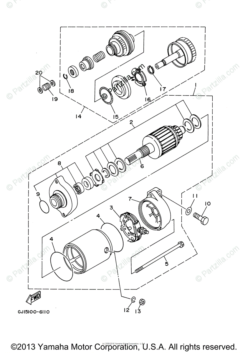 Yamaha Waverunner 2005 OEM Parts Diagram for Starting