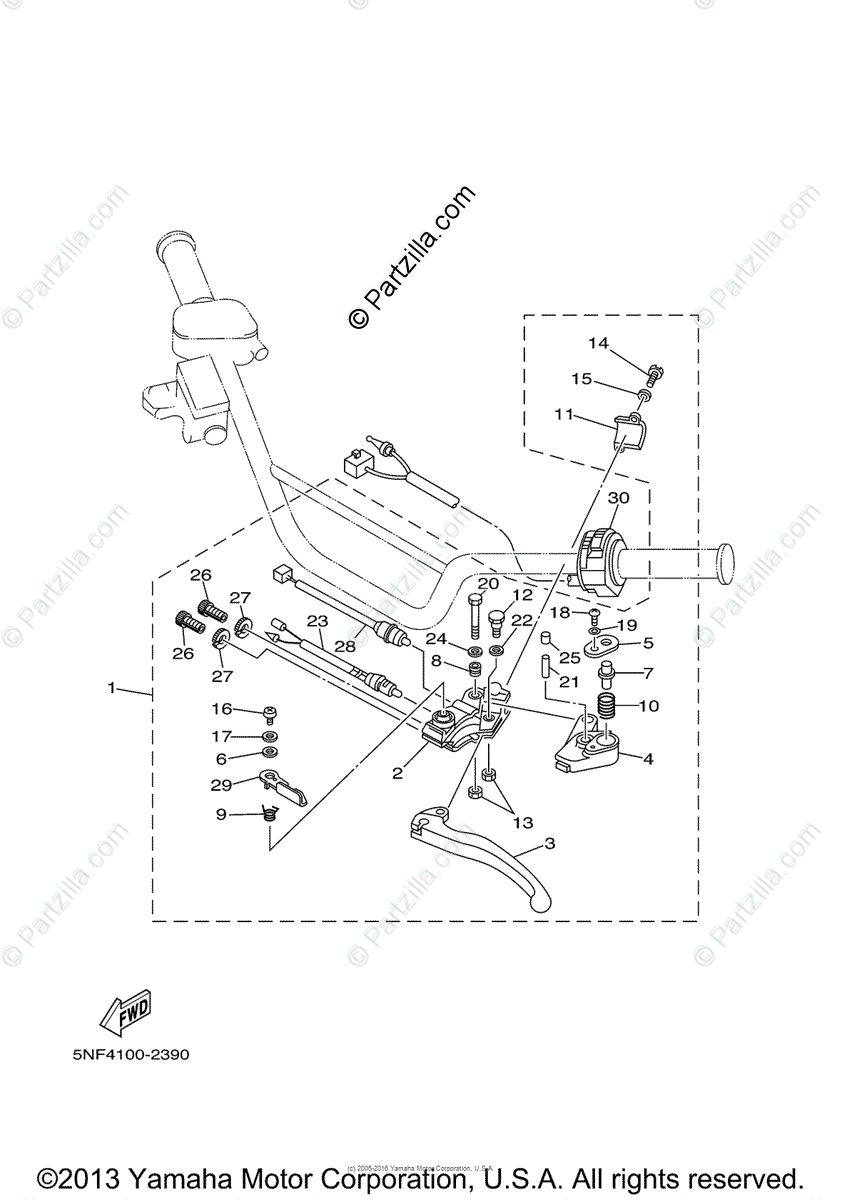 Yamaha ATV 2003 OEM Parts Diagram for Handle Switch-Lever