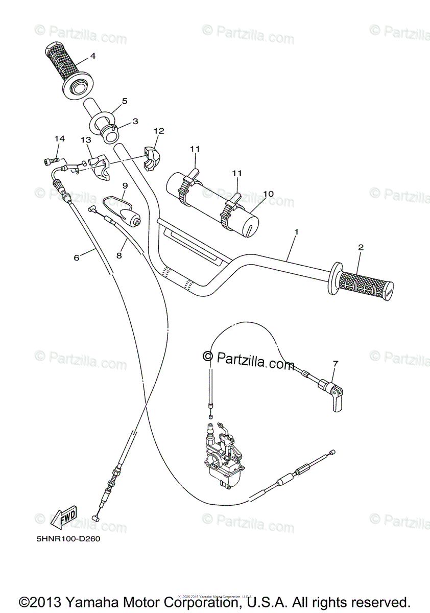 Yamaha Motorcycle 2005 OEM Parts Diagram for Steering