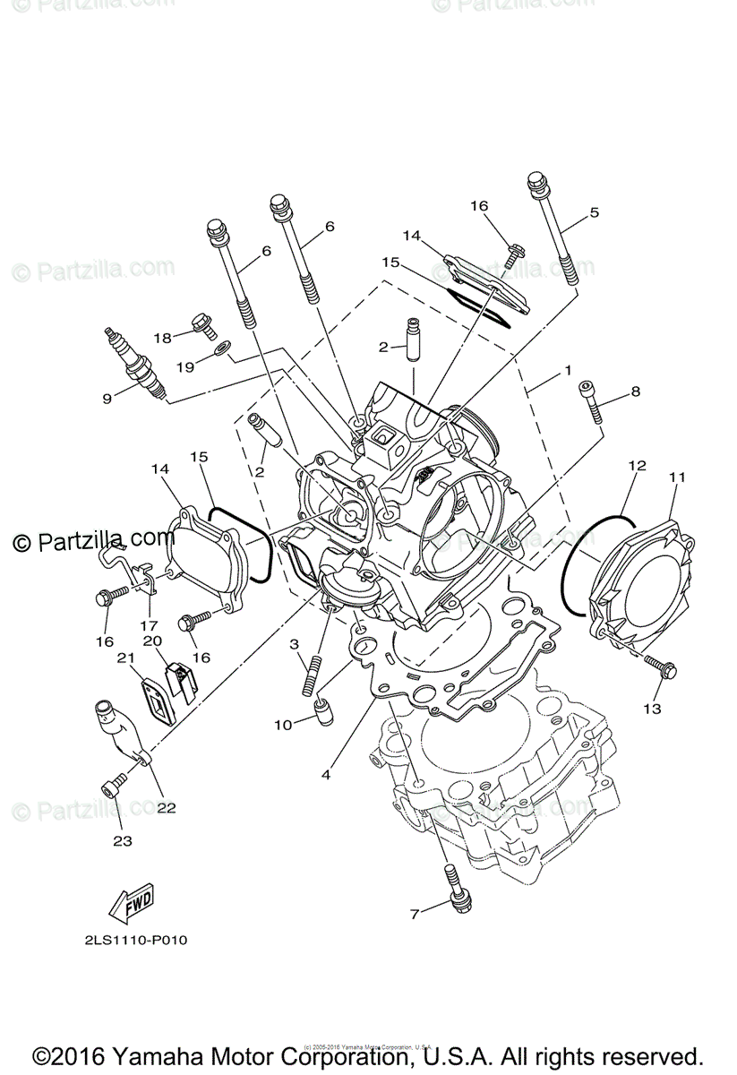 Yamaha ATV 2016 OEM Parts Diagram for Cylinder Head