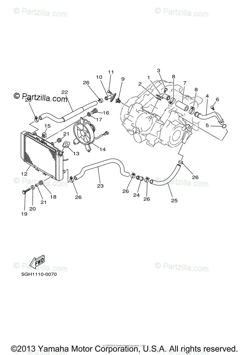 Yamaha ATV 2000 OEM Parts Diagram for Radiator Hose