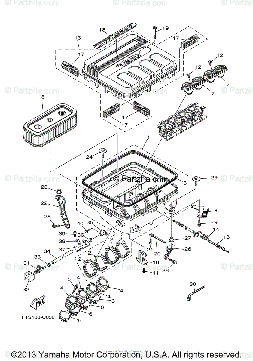 Yamaha Waverunner 2004 OEM Parts Diagram for Intake