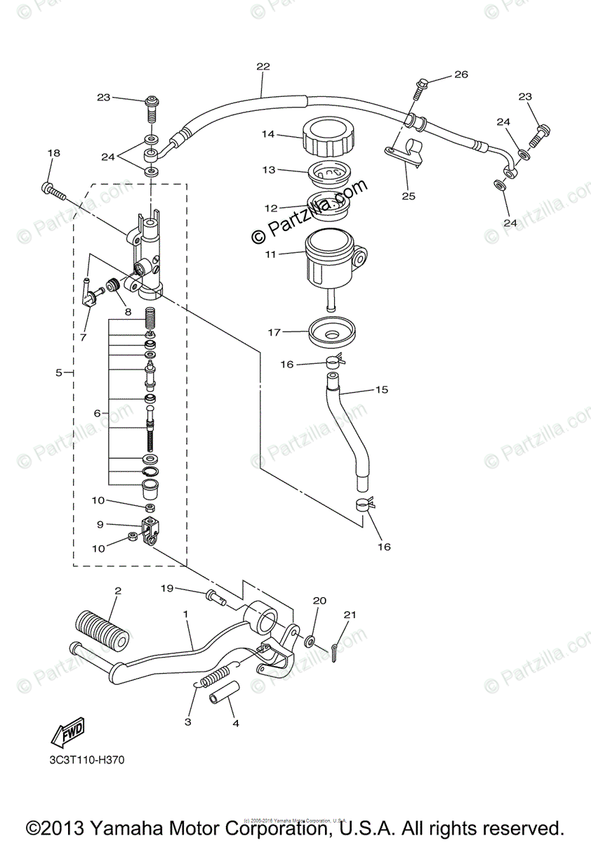 Yamaha Motorcycle 2011 OEM Parts Diagram for Rear Master