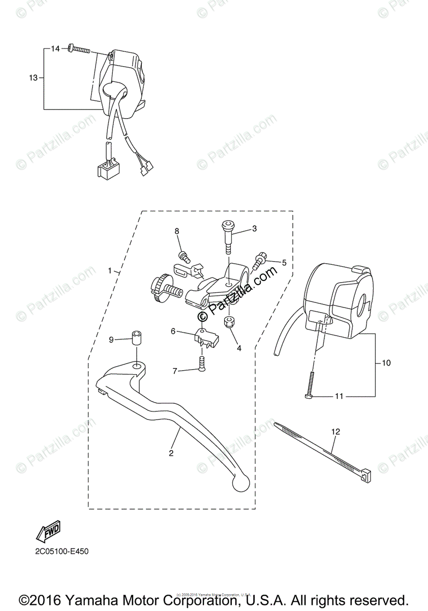 Yamaha Motorcycle 2007 OEM Parts Diagram for Handle Switch
