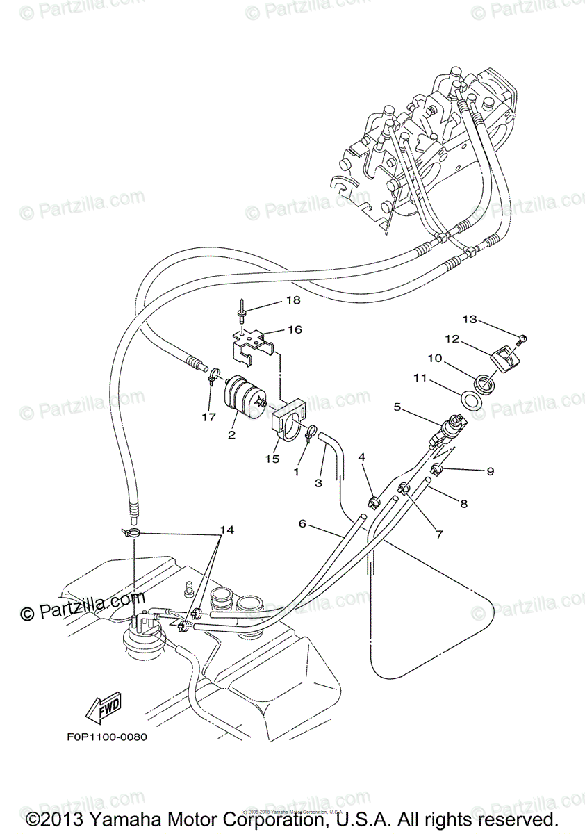 Yamaha Waverunner 2000 OEM Parts Diagram for Fuel