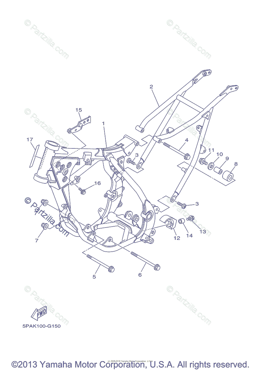 Yamaha Motorcycle 2012 OEM Parts Diagram for Frame