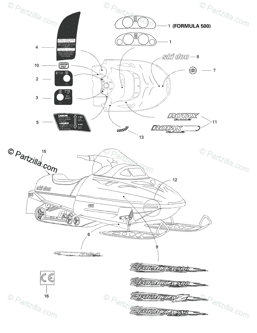 Ski-Doo 1998 FORMULA Z 583 OEM Parts Diagram for Decals