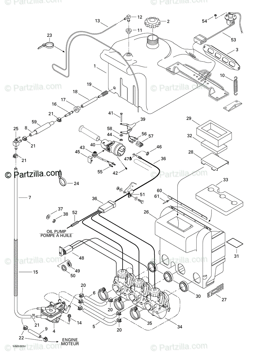 Ski-Doo 1998 FORMULA III 600/700 OEM Parts Diagram for 02