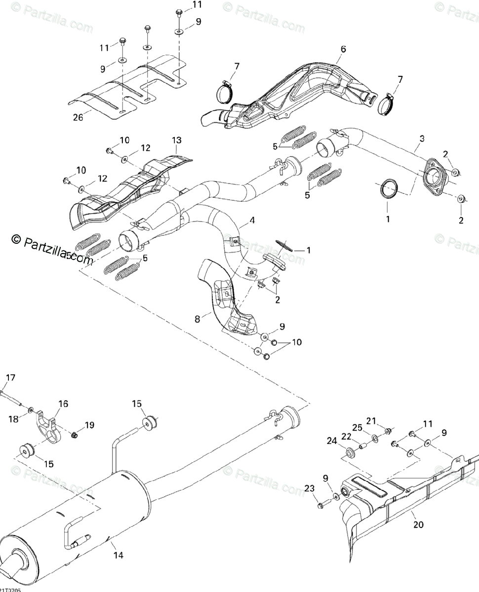 Can-Am ATV 2007 OEM Parts Diagram for Exhaust System