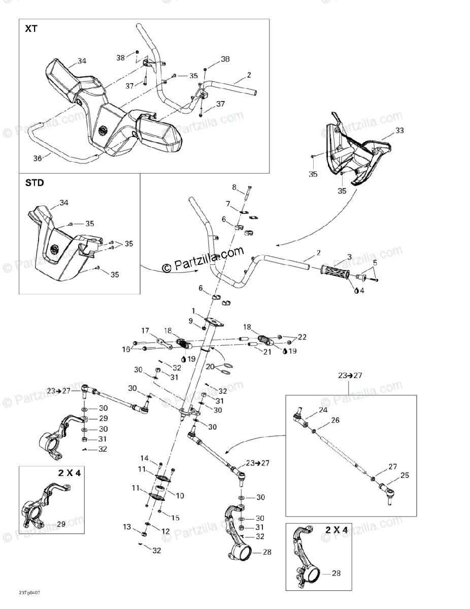 Can-Am ATV 2004 OEM Parts Diagram for Steering System