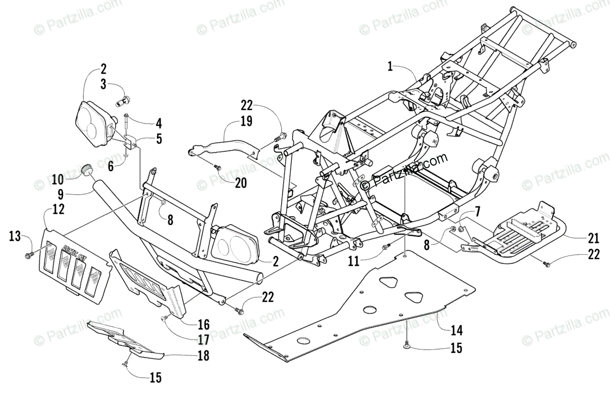 Arctic Cat ATV 2002 OEM Parts Diagram for Frame And