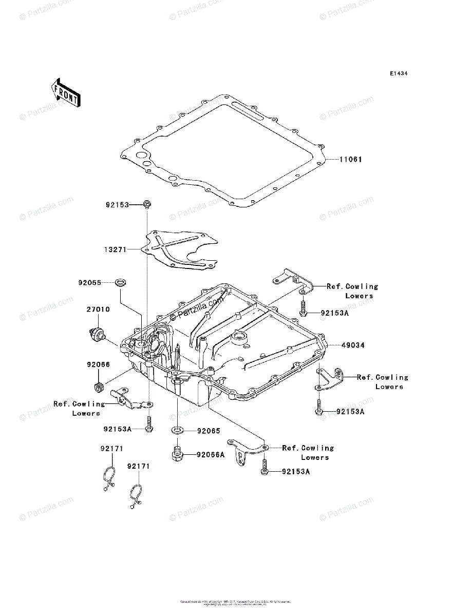 Kawasaki Motorcycle 2007 OEM Parts Diagram for Oil Pan
